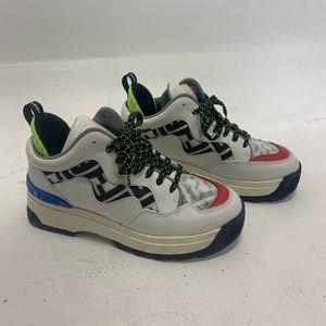 Fendi White FF Holograpfic Print Hightop Sneakers
